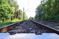 老铁路路轨 免版税库存图片