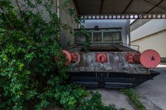 老铁路车桃红色缓冲  库存图片