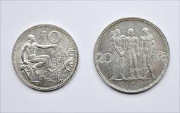 老银币捷克斯洛伐克 免版税图库摄影