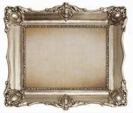 老银色框架有空的帆布纹理背景 免版税库存照片