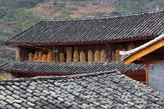 老铺磁砖的屋顶和油煎玉米 库存图片