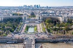老镇、河塞纳河, Palais de Chaillot和Th的看法 库存图片