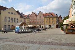 老镇中心在奥尔什丁(波兰) 库存图片