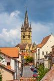 老镇中心在锡比乌的历史中心在14世纪,罗马尼亚被建立了 图库摄影