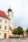 老镇中心在锡比乌的历史中心 免版税库存照片