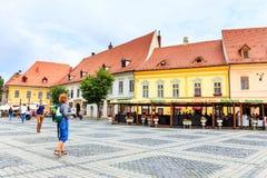 老镇中心在锡比乌的历史中心 免版税图库摄影