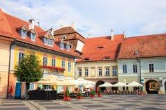 老镇中心在锡比乌的历史中心 免版税库存图片