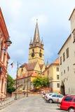老镇中心在锡比乌的历史中心 库存照片