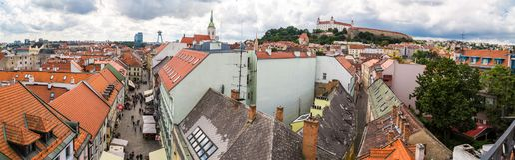 老镇全景都市风景视图在布拉索夫 库存图片