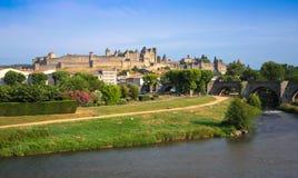 老镇卡尔卡松,南法国的看法。 免版税库存图片