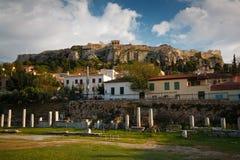老镇和上城,雅典。 库存图片