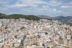 老镇和口岸在希腊市卡瓦拉 图库摄影