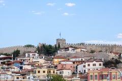 老镇和口岸在希腊市卡瓦拉 免版税库存图片