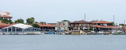 老镇和海口的看法 图库摄影