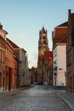 老镇和Sint Salvatorskathedraal,布鲁日 图库摄影