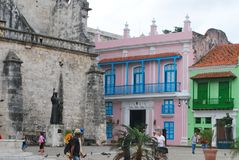 老镇哈瓦那被恢复的地区 免版税库存图片