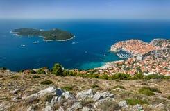 老镇在亚得里亚海海岸的欧洲  杜布罗夫尼克市 克罗地亚 库存图片