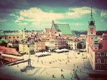老镇在华沙,波兰。葡萄酒 免版税库存图片