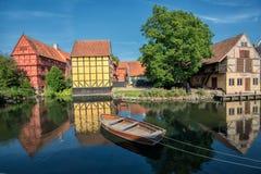老镇在奥尔胡斯,丹麦 免版税库存照片