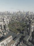老镇在将来城市 图库摄影