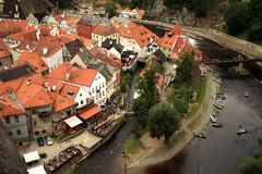 老镇在捷克克鲁姆洛夫,捷克, Czechia,遗产 免版税库存照片