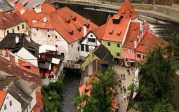 老镇在捷克克鲁姆洛夫,捷克, Czechia,遗产 图库摄影