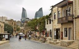 老镇在巴库 阿塞拜疆 库存照片