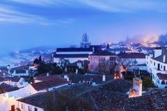 老镇在Obidos,葡萄牙 库存图片