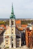 老镇地平线-从城镇厅塔,托伦,波兰的鸟瞰图 库存图片