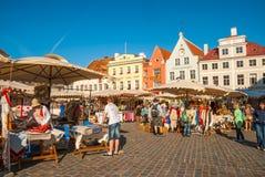 老镇大广场,塔林,爱沙尼亚中世纪市场  库存照片