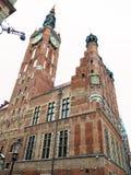 老镇市政厅在格但斯克-波兰 库存图片
