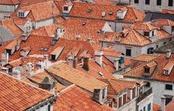 老镇杜布罗夫尼克克罗地亚的屋顶 免版税库存图片