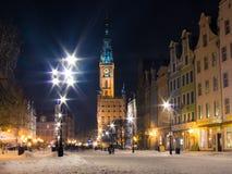 老镇格但斯克波兰欧洲。冬天夜。 免版税图库摄影