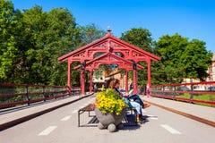 老镇桥梁,特隆赫姆 免版税图库摄影