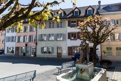 老镇梅林根在瑞士 库存照片