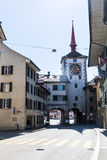 老镇梅林根在瑞士 免版税库存照片