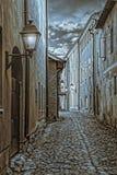 老镇狭窄的街道在芬兰 库存图片