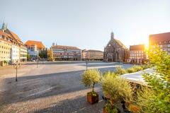 老镇的中心广场在Nurnberg,德国 库存图片