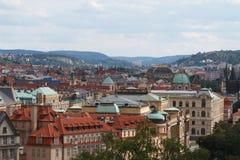 老镇的全景鸟瞰图 捷克布拉格 免版税图库摄影