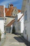 老镇的大厦的外部在斯塔万格,挪威 免版税库存图片