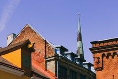 老镇的屋顶在塔林 库存图片