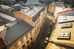 老镇的屋顶的顶视图在中心 它是第二大城市在波兰在华沙以后 免版税库存图片
