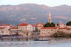 老镇的晚上视图,布德瓦,黑山 免版税库存图片
