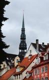 老镇的看法在里加 免版税库存图片