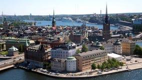 老镇的看法,斯德哥尔摩,瑞典 免版税库存照片