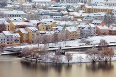 老镇的美好的冬天视图 米斯克 迟来的 库存图片