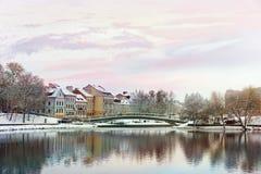 老镇的美好的冬天视图 米斯克 迟来的 库存照片