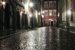 老镇的街道在华沙 免版税图库摄影