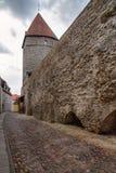 老镇的街道有塔林石塔的在爱沙尼亚 图库摄影