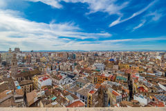 老镇的鸟瞰图在巴伦西亚 图库摄影